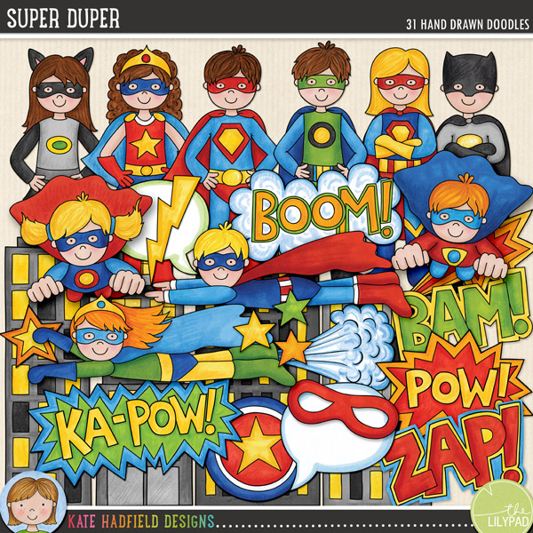 A Super Duper collection of super heroes and comic book style doodles that's sure to add some BAM and KA-POW to your pages and projects! Contains the following hand drawn doodles: arrow, Bam! wordart, Boom! wordart, 5 boy superheroes (3 standing, 2 flying), 4 buildings, 2 burst doodles, circle, eye mask, 5 girl superheroes (3 standing, 2 flying), Ka-Pow! wordart, lightning, Pow! wordart, shield doodle, 2 speech bubbles, 4 stars, 1 whoosh doodle and Zap! wordart.FOR PERSONAL & EDUCATIONAL USE (please see myTerms of Usefor more information)