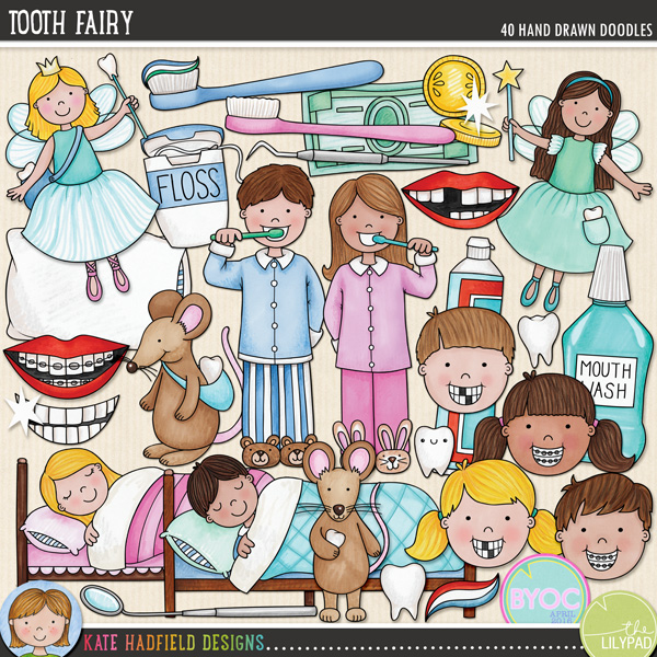 A celebration of all things toothy! Perfect for recording memories of lost teeth and visits from the Tooth Fairy, this pack contains the following hand drawn illustrations: bank note and coins, boy and girl cleaning teeth, dental mirror and dental probe, letter and envelope, 2 boys faces (one with gaps in teeth, one with braces), 2 girls faces (one with gaps in teeth, one with braces), dental floss, moon, mouth wash, pillow, sleeping boy and sleeping girl, 2 smiles, 2 smiles with braces, 2 smiles with missing teeth, 3 sparkles, 3 teeth, 2 tooth bags, 3 toothbrushes, 2 tooth fairies, 2 tooth mice (Ratón Pérez), toothpaste, toothpaste foam, 2 tubes of toothpaste.FOR PERSONAL & EDUCATIONAL USE (please see myTerms of Usefor more information)