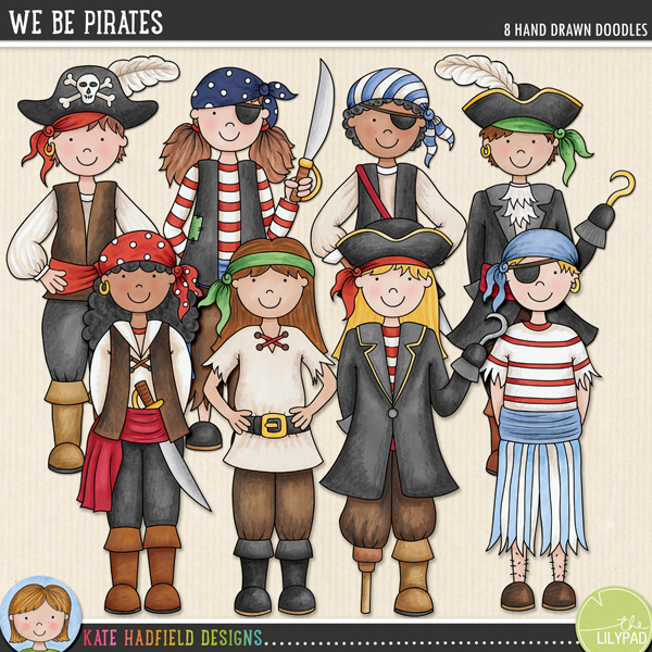 Avast me hearties! Here be some pirate mateys for ye! A hand drawn collection of pirate character doodles, contains 4 boy pirates and 4 girl pirates! Coordinates with the A Pirate's Life doodle pack.FOR PERSONAL & EDUCATIONAL USE (please see my Terms of Use for more information)