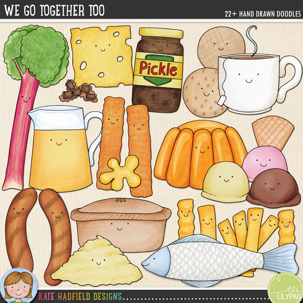 We Go Together Too - British Food Pairs digital scrapbook elements / cute Valentines food clip art! A fun set of food pairs illustrations! Hand-drawn doodles for digital scrapbooking, crafting and teaching resources from Kate Hadfield Designs.