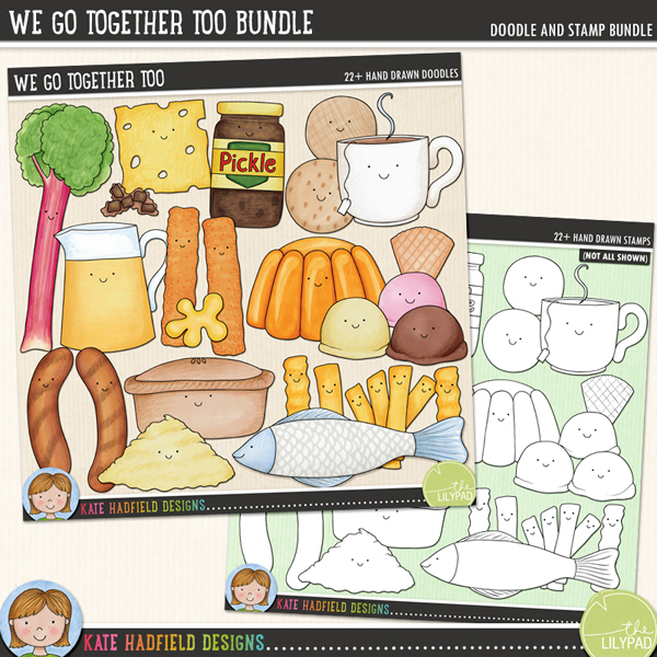 We Go Together Too Bundle - British Food Pairs digital scrapbook elements / cute Valentines food clip art! A fun set of food pairs illustrations! Clipart and line art bundle. Hand-drawn doodles for digital scrapbooking, crafting and teaching resources from Kate Hadfield Designs.