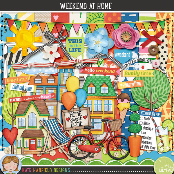 Lazy summer days and relaxing weekends at home with family and friends are what this kit is all about! Contains the following:10 patterned papers5 solid papersthe following hand drawn doodles: armchair, balloons, BBQ, bicycle, birdhouse, open book, bunting, deckchair, drink, heart, 5 houses, ice cream cone, lamp, Home Sweet Home picture, play, 2 trees<the following elements: ribbon, knotted ribbon, paper circle trim, 2 buttons, 2 paper clouds, doodled border, 2 doodled frames, paint, 2 paper flowers, ribbon bow, scallop trim, paper sun, 2 tapes, felt flower, family, friends and hello wordart, 8 wordart strips, 3 further wordart piecesNB: Weekend at Homebundle,stamps, ;doodlesandpapersare also available separately!FOR PERSONAL / LIMITED S4H USE (please see my Terms of Use for more information)