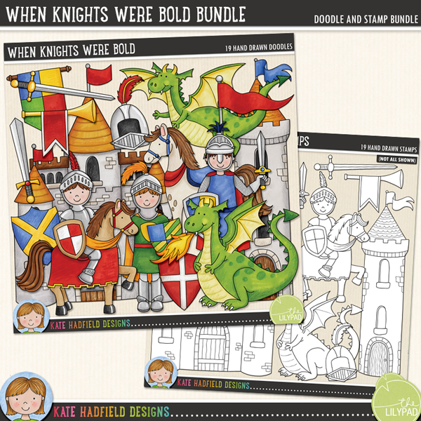 The companion set to my Happily Ever After doodles, When Knights Were Bold is packed with knightly goodies and not-so scary dragons! Contains the following hand drawn doodles: 2 banners, castle, 2 dragons, fire, flag, helmet, horn, horse, 3 knights, row of pennant flags, 2 shields, 2 swords and a castle tower.Extra Value Bundle pack containing:When Knights Were BoldWhen Knights Were Bold StampsFOR PERSONAL & EDUCATIONAL USE (please see myTerms of Usefor more information)
