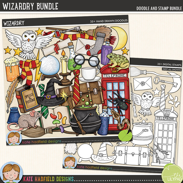 A jam packed doodled kit full of all sorts of wizarding paraphernalia that's perfect for capturing memories of your favourite wizards and witches and for making magical projects! Wizardry contains the following hand drawn doodles: jug of beer, open book, 2 broomsticks, candle, cauldron, crystal ball, 2 pairs of glasses, 2 witch / wizard hats, inkpot, jelly beans, key, letter, lightning, moon, owl, phone box, 3 potion bottles, quill, rat, 2 scarves, scroll, snake, sock, spell book, spider, stars, teacup, 2 school ties, toad, trunk, 2 wands and wand sparkle.Extra Value Bundle pack containing:WizardryWizardry StampsFOR PERSONAL & EDUCATIONAL USE (please see myTerms of Usefor more information)
