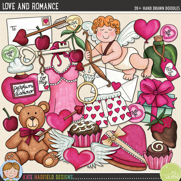Love and Romance is perfect for celebrating anniversaries and romantic moments (including Valentine's Day!) with that special someone! Contains the following hand-drawn doodles: arrow, heart shaped balloon, boxer shorts, 3 cherries, 2 individual chocolates, chocolate box, Cupid with bow and arrow, diamond ring, 2 love letters, wrapped gift, heart with arrow, key to my heart, 3 loveheart sweets, love potion, negligee, perfume bottle, chocolate dipped strawberry, teddy bear and winged heart.FOR PERSONAL & EDUCATIONAL USE (please see myTerms of Usefor more information)