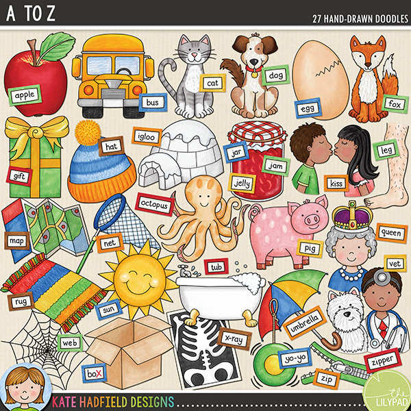 A set of A to Z themed hand drawn doodles! Perfect for creating personalised reading aids, each picture word has been chosen to be easily recognisable, while containing short vowel sounds and the most common consonant sound (wherever possible!). Each picture also has a matching wordy-bit word strip (some with several versions to cover US, UK and international English!). 	Contains the following hand-drawn doodles and wordy-bits: apple, bus, cat, dog, egg, fox, gift, hat, igloo, jar / jam / jelly, kiss, leg, map, net, octopus, pig, queen, rug, sun, tub, umbrella, vet, web, x-ray and boX (x-ray for initial letter recognition, box for phonics games), yo-yo, zip / zipper. The following illustrations are supplied in two hair / skin tone versions: kiss, leg, queen, vet.FOR PERSONAL & EDUCATIONAL USE (please see my Terms of Use for more information)