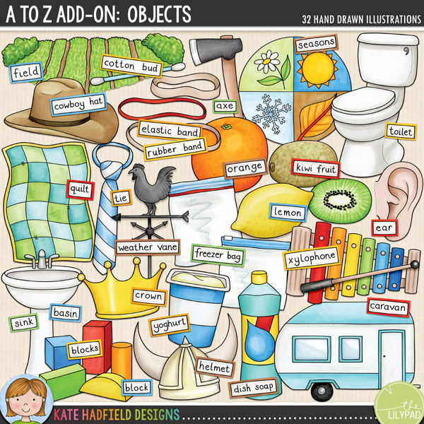 An add-on to my main A to Z set, this pack contains 32 extra doodles along with co-ordinating wordy-bits! Contains the following hand-drawn illustrations: axe, caravan, cotton bud, cowboy hat, crown, ear, field, helmet, kiwi fruit, lemon, orange, quilt, 3 rubber bands / elastic bands, seasons, sink / basin, tie, toilet, washing up liquid / dish soap, weather vane, 5 wooden blocks, xylophone and mallet, yoghurt pot, 2 freezer / ziplock bags. 	Please note that this is NOT a complete collection of A to Z items, but rather a companion set to my main A to Z pack designed to give extra options when creating alphabet and phonics resources, both in English and other languages! Each picture also has a matching wordy-bit word strip along with a set of blank word strips for you to create your own word labels.FOR PERSONAL & EDUCATIONAL USE (please see my Terms of Use for more information)