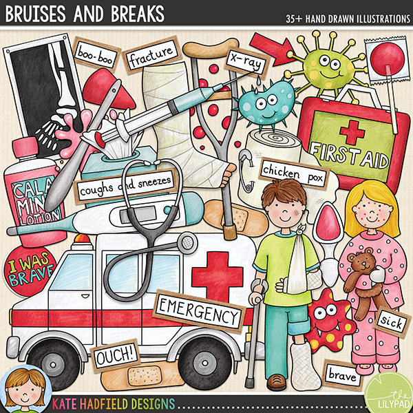 Bruises and Breaks - Accident and illness digital scrapbook elements / cute clip art! Hand-drawn doodles and illustrations for digital scrapbooking, crafting and teaching resources from Kate Hadfield Designs.