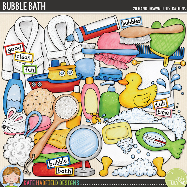 Splish, splash - it's bath time! Perfect for recording all those watery moments from your little one's first ever bath, a favourite bath toy to making bubble bath beards, Bubble Bath contains the following hand drawn doodles: back brush, 3 bubble doodles, 2 bath robes, bath tub, 3 bottles, comb, bath frilly, hairbrush, hand soap, mirror, rubber ducky, shower cap, 2 slippers, soap, 2 splashes, sponge, thermometer, toothbrush, toothpaste, pile of towels, towel rail, toy boat and wash mit.	Also contains the following wordy-bits wordstrips: bath, bubble, bubbles, clean, fun, good, rubber ducky, scrub, splash, time, tub and wash.	FOR PERSONAL & EDUCATIONAL USE (please see my Terms of Use for more information)