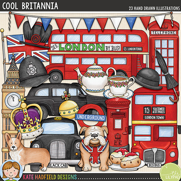 Cool Britannia is a celebration of patriotic pride and all things British! This collection of doodles was hand-drawn and coloured with more than just a little touch of patriotic pride! Contains the following hand-drawn doodles: beefeater hat, Big Ben tower, bowler hat and moustache, British bulldog, bunting, 2 London double decker buses, corgi, cream tea, royal crown and orb, telephone box, police helmet, postbox, 2 London black cabs, teapot and cup of tea, 2 umbrellas, London underground sign and Union Jack flag.FOR PERSONAL & EDUCATIONAL USE (please see my Terms of Use for more information)