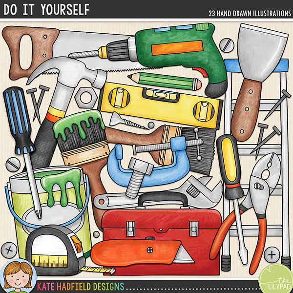 Do It Yourself was created for all those DIYers and budding Mr-Fix-Its out there and is perfect for scrapping those DIY adventures and achievements (or even the odd home improvement mishap!)! Contains the following hand drawn doodles: 2 paintbrushes, nut and bolt, clamp, drill, hammer, knife, ladders, nail, paint can, pencil, pliers, saw, scraper, screw, 2 screwdrivers, 3 screw / nail heads, spanner (wrench), spirit level, tape measure and toolbox.FOR PERSONAL & EDUCATIONAL USE (please see myTerms of Usefor more information)