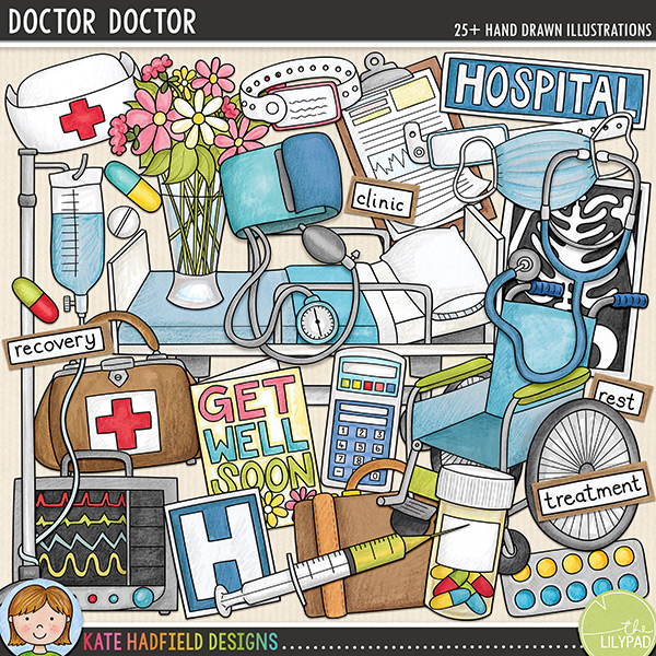 The second in my medical series, 'Doctor, Doctor!' is packed with hospital related doodles and wordy-bits! Contains the following hand-drawn doodles: blood pressure cuff; medical chart; doctor's bag; drip; facemask; get well soon card; hospital bed; 2 hospital signs; 2 monitors; nurse's hat; pill bottle; pills; blister of pills; stethoscope; suitcase; syringe; vase of flowers; wheelchair; 2 wrist bands and x-ray.	 	Also contains the following hand-drawn wordy-bits: bed rest; clinic; consultant; doctor; hospital; nurse; operation; patient; recovery; recuperation; rest; surgeon; surgery and treatment (also contains blank word-strips for you to add your own words!)	FOR PERSONAL & EDUCATIONAL USE (please see my Terms of Use for more information)