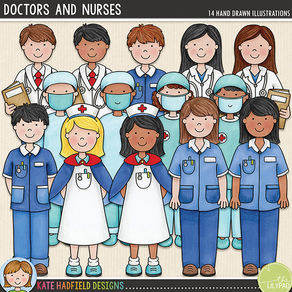 Doctors and Nurses is the companion pack to my Doctor Doctor and Bruises and Breaks sets! Contains the following hand-drawn doodles: two doctors in white coats, two nurses in blue uniforms, nurse in traditional uniform, two surgeons in scrubs. Each character is supplied in two different skin tones / hair colours for a total of 14 doodled medical professionals! FOR PERSONAL & EDUCATIONAL USE (please see my Terms of Use for more information)