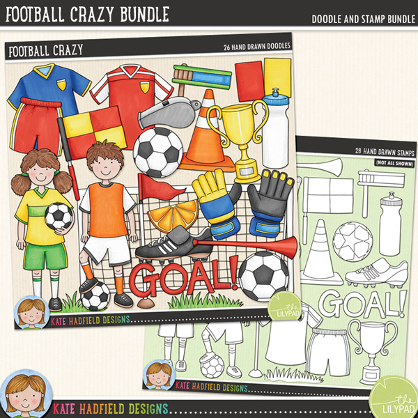 A celebration of my favourite sport: soccer! (Football here in the UK!) Football Crazy contains the following hand drawn doodles and stamps: football boot, boy, corner flag, 3 footballs, girl. goal, goalie gloves, 2 patches of grass, linesman flag, orange segment, rattle, red and yellow cards, 2 shirts, 2 pairs of shorts, cone, trophy, vuvuzela, water bottle, whistle and Goal! wordart.	Extra value bundle pack containing:			Football Crazy doodles			Football Crazy stamps<FOR PERSONAL & EDUCATIONAL USE (please see my Terms of Use for more information)
