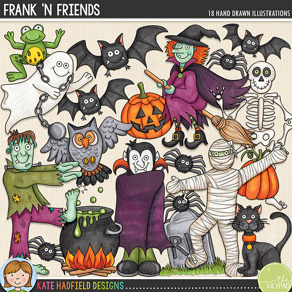 Frank 'n Friends - a fun collection of Halloween characters and cute Halloween clip art! Hand-drawn doodles and illustrations for digital scrapbooking, crafting and teaching resources from Kate Hadfield Designs.