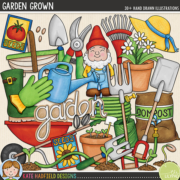 A collection of hand drawn doodles that are perfect for all the green-fingers gardeners out there! Garden Grown contains the following hand-drawn doodles: bag of compost, 3 flowerpots, small fork, large fork, 'garden' wordart, string, glove, gnome, hat, 2 hoses, 2 plant markers, rake, secateurs, 3 seedlings, 2 packets of seeds, 3 sets of seeds, spade, trowel, garden trug, watering can and water drips, welly boot and wheelbarrow.FOR PERSONAL & EDUCATIONAL USE (please see myTerms of Usefor more information)