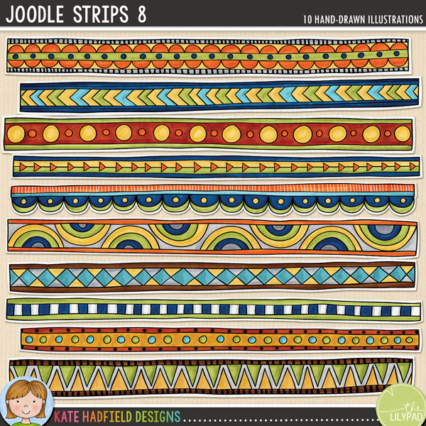 A collection of autumnal painted doodle strips to add a bit of hand-made fun to your pages and projects! Coloured on vintage book pages, these Joodle Strips coordinate with the Treasured collaboration collection. Contains 10 strips, average size 11.5 x 1.FOR PERSONAL & EDUCATIONAL USE (please see myTerms of Usefor more information)