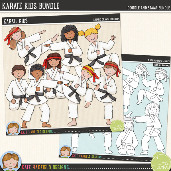A selection of 8 kids in various martial arts style poses! Perfect for all the Karate Kids in your family! Contains 8 hand drawn doodles and co-ordinates with my Black Belt doodle pack.	Extra Value Bundle pack containing:			Karate Kids			Karate Kids StampsFOR PERSONAL & EDUCATIONAL USE (please see my Terms of Use for more information)