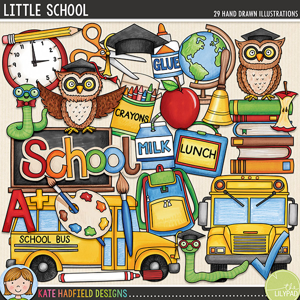Little School - digital scrapbook elements / cute primary and elementary school clip art! Hand-drawn illustrations and doodles for digital scrapbooking, crafting and teaching resources from Kate Hadfield Designs.