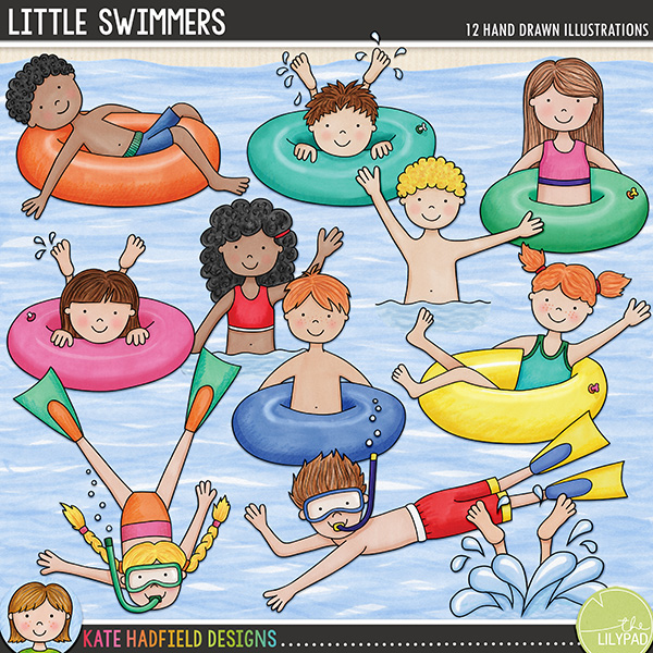 A collection of little swimming, snorkeling and tubing boys and girls to add some hand-drawn character fun to your pages and projects! Contains the following hand drawn doodles: 5 boys, 5 girls, 1 splashing feet and a large water backdrop. Coordinates with my Swim Like a Fish doodles!FOR PERSONAL & EDUCATIONAL USE (please see my Terms of Use for more information)