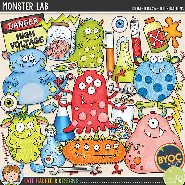 Monster Lab digital scrapbook elements / cute Halloween monster clip art! Hand-drawn illustrations and doodles for digital scrapbooking, crafting and teaching resources from Kate Hadfield Designs.