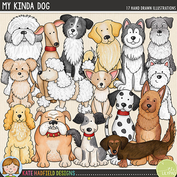 My Kinda Dog - Dog breed digital scrapbook elements / cute puppy clip art! Hand-drawn illustrations and doodles for digital scrapbooking, crafting and teaching resources from Kate Hadfield Designs.