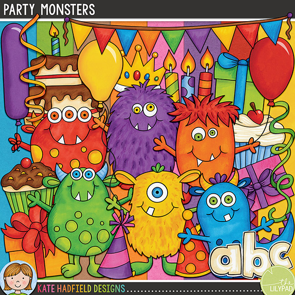 Everyone loves a party, especially the Party Monsters! Packed with fun characters and bright colours, Party Monsters is perfect for all your birthday and party themed pages and projects!Contains the following hand drawn doodles: 3 balloons and 4 balloon strings, birthday cake, bunting, slice of cake, 5 birthday candles, crown, 3 cupcakes, 4 gifts, 5 party hats, 6 cheerful monsters,party! wordart and 4 streamers. Also contains a hand drawn alphabet containing lower case letters, numerals and some punctuation along with 8 painted kraft papers!NB: Please note that these doodles were originally available with a special edition of Complete Cardmaking magazine, you might like to check your stash before purchasing! Thank you!FOR PERSONAL & EDUCATIONAL USE (please see myTerms of Usefor more information)