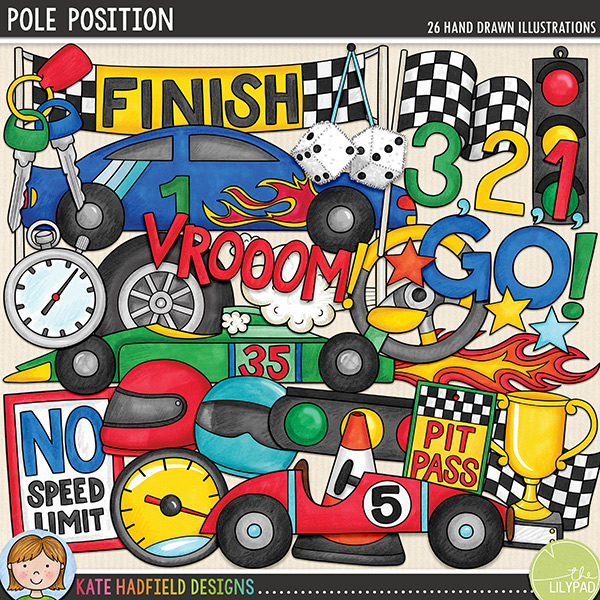Do you have a racing car fanatic in your family?! Document their love of motors, racing and their need for speed with this new set of doodles!! Pole Position contains the following hand drawn doodles: 3,2,1, GO! wordart; 3 cars; cone; finish sign (version with no text also included); 2 chequered flags; flames; furry dice; 2 helmets; keys; 2 traffic lights; pit pass (version with no text also included); no speed limit sign (version with no text also included); speedometer; stars; steering wheel; stopwatch; trophy; Vrooom wordart, wheel and whoosh.FOR PERSONAL & EDUCATIONAL USE (please see my Terms of Use for more information)