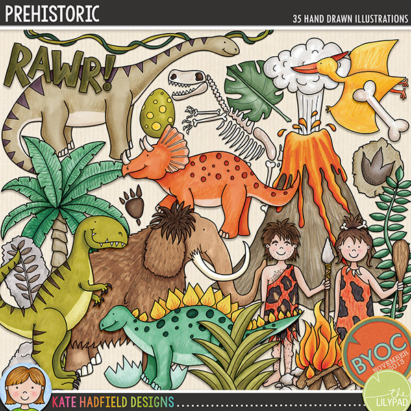 A celebration of all things Prehistoric that's perfect for your little dino hunters (and Flintstones fans!!). Prehistoric contains the following hand drawn doodles: Ankylosaurus, 2 bones, branch, cavegirl and caveman (each in two different hair and skin tones for a total of 4 characters), club, Diplodocus, 2 eggs, broken egg shell, campfire, 2 sets of dino footprints, 3 fossils, 2 clumps of grass, leaf, Woolly Mammoth, palm tree, Pterodactyl, 2 rocks, dino skeleton, Stegosaurus, T-Rex, Triceratops, vine, volcano with smoke, stone wheel and the following word art pieces: chomp, Rawr! and Stomp!FOR PERSONAL & EDUCATIONAL USE (please see myTerms of Usefor more information)