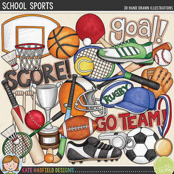 Calling all sports fans! School Sports is a fun collection of doodles dedicated to all the sports fanatics out there! Whatever sport is your passion - from soccer to tennis, baseball to cricket - these doodles are sure to add a touch of hand-drawn fun to your pages and projects! Includes the following hand-drawn doodles: badminton racket and shuttlecock; baseball ball, bat, cap and mitt; basketball ball, hoop and shoe; cricket ball, bat and wicket; football ball and helmet; hockey stick and ball; medal; rugby ball; soccer ball, shoe and whistle; table tennis bat and ball; tennis racket and ball; training shoe; trophy and the following wordart pieces: 'goal!', 'go team!' and 'score!'FOR PERSONAL & EDUCATIONAL USE (please see myTerms of Usefor more information)