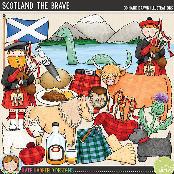 Scotland the Brave - bonnie Scotland digital scrapbook elements / cute Scottish clip art! Hand-drawn doodles and illustrations for digital scrapbooking, crafting and teaching resources from Kate Hadfield Designs.