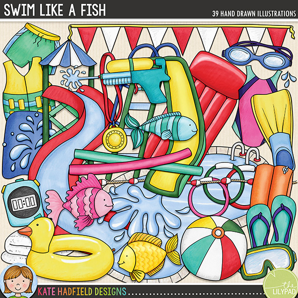 A fun-packed doodle set celebrating those water-soaked days of summer spent playing in the pool, swimming in the lake or indulging in water fights! Contains the following hand drawn doodles: armband, beach ball, 3 diving weights, duck rubber ring, 3 fish, bunting flags, flip flip, flipper, float, goggles, lane divider, lilo, mask, medal, 2 pool noodles, paddling pool, swimming pool, rubber ring, swim shorts, slide, snorkel, 4 water splashes / drops, stopwatch, sunscreen bottle, swim jacket, swimming costume, towel, water pistol, waterslide, 2 waves.Coordinates with my Little Swimmers doodles!FOR PERSONAL & EDUCATIONAL USE (please see myTerms of Usefor more information)