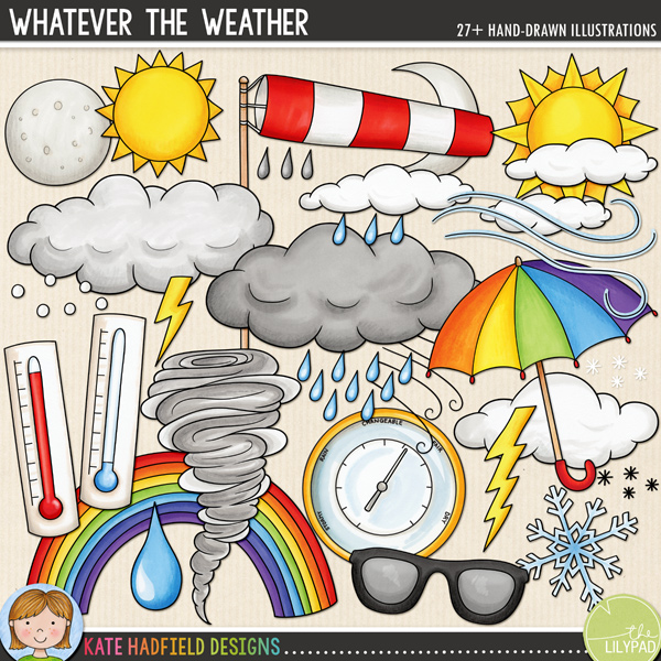 A colourful set of weather related doodles, perfect for scrapbooking and hybrid projects, whatever the weather! Contains the following hand-drawn doodles: barometer (versions with and without text included), 3 large clouds, small wispy clouds, hail, 2 lightning bolts, fog weather symbol, icicles, 2 moons, 3 sets of raindrops, rainbow, snowflake, 2 small snowflake icons, 3 suns, sunglasses, 2 thermometers, tornado, umbrella, 2 wind swirls and windsock.  FOR PERSONAL & EDUCATIONAL USE (please see my Terms of Use for more information)