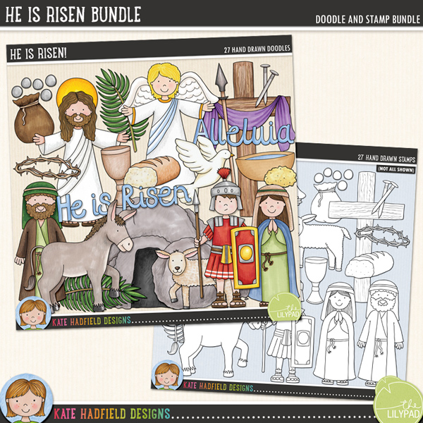 A celebration of the Easter story that's sure to add a touch of hand drawn charm to your Easter pages and projects! Contains the following hand-drawn doodles and stamps: angel, bottle of anointing oil, apostle, bowl and sponge, bread, cloth, cross and purple draped cloth, crown of thorns, cup and bread, donkey, dove, halo, Jesus, lamb, nail, 2 palm leaves, pieces of silver, Roman soldier, spear, tomb and rock, woman and the following word art pieces: Alleluia and He is Risen.	An extra value bundle pack containing:			He Is Risen! 			He Is Risen! Stamps FOR PERSONAL & EDUCATIONAL USE (please see my Terms of Use for more information)