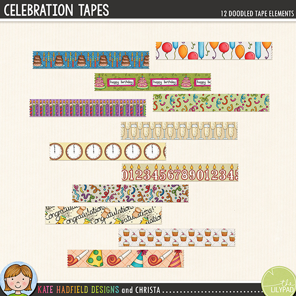 A fun collection of doodled washi tape for your celebratory stash! Use these pieces of tape as fasteners on your pages to hold down papers and photos, or get really creative and make frames or blocks of pattern with them! Created with doodles from my Let's Celebrate and Bring on the Cake packs, this set contains 12 pieces of tape approx 4.5 inches x 3/4 inch, each design is supplied in two versions: opaque paper tape and preshadowed semi-transparent vellum / washi tape style.Designs include: balloons, 2 x birthday cakes, 2 x birthday candles, champagne glasses, clock, 2 x confetti, congratulations, cupcakes, party hatsFOR PERSONAL & EDUCATIONAL USE (please see myTerms of Usefor more information)