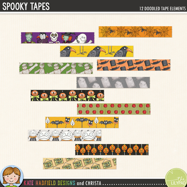 A fun collection of doodled washi tape for your Halloween stash! Use these pieces of tape as fasteners on your pages to hold down papers and photos, or get really creative and make frames or blocks of pattern with them! Created with doodles from a number of my Halloween packs, this set contains 12 pieces of tape approx 4.5 inches x 3/4 inch, each design is supplied in two versions: opaque paper tape and preshadowed semi-transparent vellum / washi tape style.  			 			Designs include: Halloween characters x2, crow, hat, mummy, pumpkins x2, skeleton, spider, toffee apples, tombstones, trick or treat sign.	 	FOR PERSONAL / LIMITED S4H USE (please see my Terms Of Use for more information)