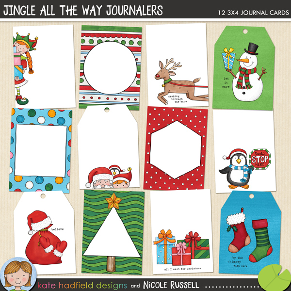 A fun packed collection of 3x4 journal cards created with my Jingle All The Way collection! Contains 12 different designs in jpg and / or png files along with a PDF file for easy printing. (All png cards also come in a jpeg version). Cards sized at 2.9 x 4 inches to neatly fit your page protectors!FOR PERSONAL / LIMITED S4H USE (please see my Terms of Use for more information)