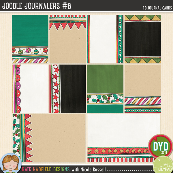 An artsy collection of 10 journal cards (2 6x4 inches, 8 3x4 inches) created by Nicole Russell using my Joodle Strips 6! Add a touch of artsy fun to your pocket pages with these colourful cards, or use them as journal spots on your layouts! Co-ordinates with the rest of the 2014 Document Your December collection.FOR PERSONAL / LIMITED S4H USE (please see my Terms of Use for more information)