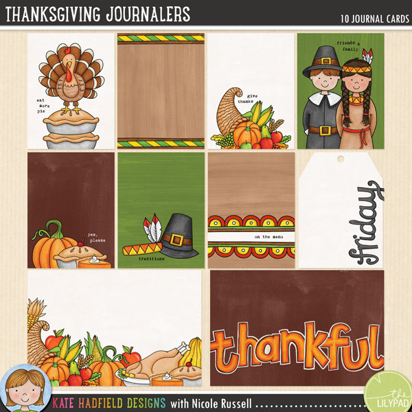 A fun packed collection of 8 3x4 inch and 2 6x4 inch journal cards created by Nicole Russell using my Giving Thanks doodles! Add a touch of Thanksgiving fun to your pocket pages with these colourful cards, or use them as journal spots on your layouts! Supplied as individual jpeg / png files and as a letter sized ready-to-print PDF file.FOR PERSONAL / LIMITED S4H USE (please see my Terms of Use for more information)