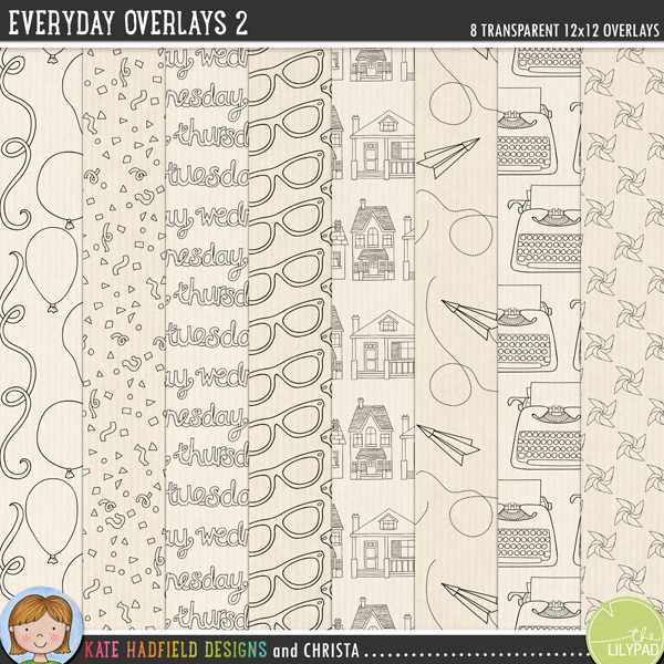 A set of transparent overlays to help you add a touch of doodled fun to your papers and backgrounds! Play with colours and blending modes to create different effects, these overlays offer a fun way to get even more creative with your pages! Contains 8 12x12 png files. Designs include: balloons and streamers, confetti, days of the week, glasses, houses, paper planes, typewriters and windmills.FOR PERSONAL & EDUCATIONAL USE (please see myTerms of Usefor more information)