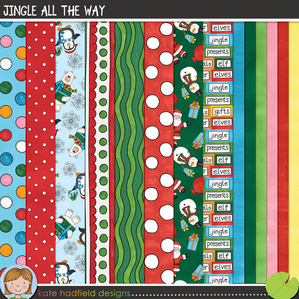 A colourful pack of hand drawn and painted papers to coordinate with the Jingle All The Way collection! Contains 8 patterned papers and 6 painted solid papers.FOR PERSONAL & EDUCATIONAL USE (please see myTerms of Usefor more information)