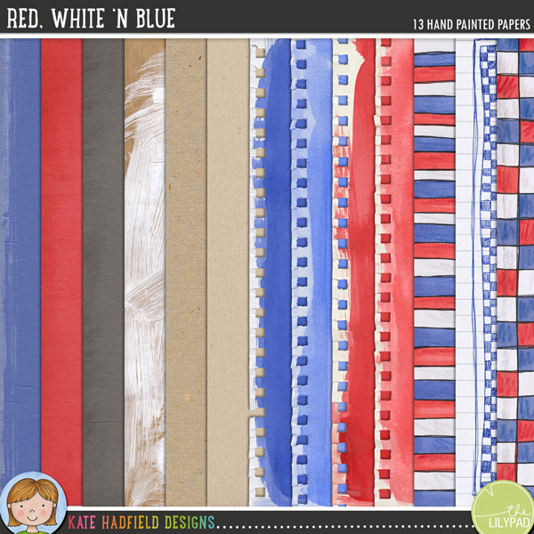 Red, White 'n Blue is a patriotic collection of papers that are perfect for adding a touch of hand painted whimsy to your pages and projects! Contains the following papers:1 doodled notebook paper2 doodled patterned papers4 painted sketchbook papers (supplied in png format to preserve the ripped edges!)3 cardstock papers2 kraft papers1 painted kraft paperFOR PERSONAL & EDUCATIONAL USE (please see myTerms of Usefor more information)