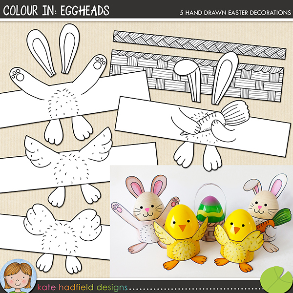 Dress up your dyed, painted, decorated or plain Easter eggs with these cheerful Eggheads egg wraps! Simply print and then colour with your choice of art materials. Then cut out (for extra dimension, cut along the underside of the chicks' wings, bunny's arms and carrot!) fold along the bottom edge to create the feet, wrap round your egg and secure with tape or glue.	Contains wraps in the following designs (each in two sizes to fit small / plastic eggs and larger eggs): basket, bunny with carrot, bunny, 2 chicks. Supplied as png and PDF versions (letter sized PDF also suitable for printing on A4 paper).	Please note that this is the colour-in version of this craft! If you would prefer an easy precoloured version, you might prefer this craft: Eggheads.	FOR PERSONAL USE ONLY (please see my Terms of Use for more information)