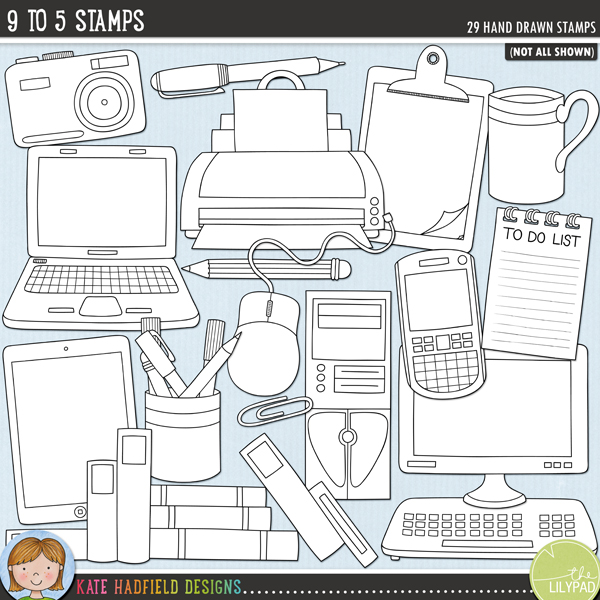 Outlined versions of my 9 to 5 doodles, this stamp pack contains the same doodles in three different formats: black outline png, black outline filled with white png (as shown in the preview) and a new bolder outline version for working on a smaller scale. Digital stamps are perfect for creating colouring sheets, cards and other hybrid projects as well as for stamping on your digital scrapbooking pages!9 to 5 was inspired by days in the office and evenings spent scrapbooking (and maybe the odd day in the office wishing I was scrapbooking instead!) A collection of office equipment and technology themed doodles, 9 to 5 contains the following hand drawn doodles: pile of books, 2 cameras, CD in sleeve, 2 cell phones, tablet, office chair, clipboard, computer tower, coffee cup, drinks can, keyboard, desk lamp, laptop, monitor, mouse, paper clip, pen, pencil, diary, notebook, pot of pens, printer, stapler, sticky note, graphics tablet and pen, to-do list.FOR PERSONAL & EDUCATIONAL USE (please see myTerms of Usefor more information)