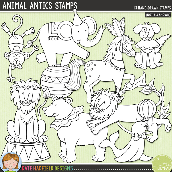 Outline versions of my Animal Antics doodles, this stamp pack contains the same doodles in three different formats: black outline png, black outline filled with white png (as shown in the preview) and a new bolder outline version for working on a smaller scale. Digital stamps are perfect for creating colouring sheets, cards and other hybrid projects as well as for your stamping on your digital scrapbooking pages!Animal Antics is an add-on to my Big Top doodle pack and features some amazing performing animals! Contains the following hand drawn doodles: ball, bear, 2 dogs (1 dancing, one seated), balancing elephant, fire hoop, hoop, horse, 2 lions (1 jumping, one seated), monkey, seal balancing a ball and 1 circus stand.FOR PERSONAL & EDUCATIONAL USE (please see myTerms of Usefor more information)