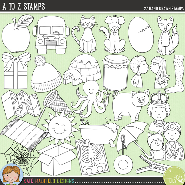 Outline versions of my A to Z doodles, this stamp pack contains the same doodles in three different formats: black outline png, black outline filled with white png (as shown in the preview) and a new bolder outline version for working on a smaller scale. Digital stamps are perfect for creating colouring sheets, cards and other hybrid projects as well as for stamping on your digital scrapbooking pages!A set of A to Z themed hand drawn doodles! Perfect for creating personalised reading aids, each picture word has been chosen to be easily recognisable, while containing short vowel sounds and the most common consonant sound (wherever possible!). Contains the following hand-drawn stamps: apple, box, bus, cat, dog, egg, fox, gift, hat, igloo, jar / jam / jelly, kiss, leg, map, net, octopus, pig, queen, rug, sun, tub, umbrella, vet, web, x-ray, yo-yo, zip / zipperFOR PERSONAL & EDUCATIONAL USE (please see myTerms of Usefor more information)