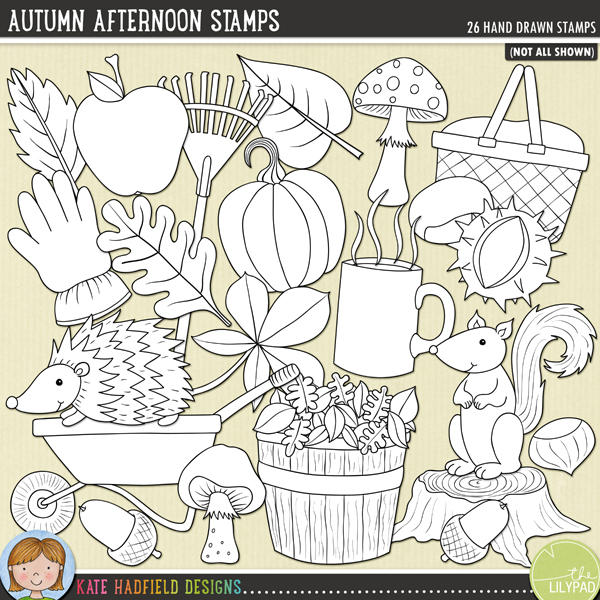 Outline versions of my Autumn Afternoon doodles, this stamp pack contains the same doodles in three different formats: black outline png, black outline filled with white png (as shown in the preview) and a new bolder outline version for working on a smaller scale. Digital stamps are perfect for creating colouring sheets, cards and other hybrid projects as well as for stamping on your digital scrapbooking pages!Autumn Afternoon was inspired by a perfect crisp afternoon I spent with my family sweeping up leaves in our garden, watched by a friendly squirrel!! Contains the following hand-drawn doodles: 3 acorns, apple, barrel of leaves, 2 conkers, gardening glove, hedgehog, 7 leaves, mug with steam, 2 mushrooms, nut, picnic hamper, pumpkin, rake, squirrel, tree stump, wheelbarrow and 2 wind swirls.FOR PERSONAL & EDUCATIONAL USE (please see myTerms of Usefor more information)