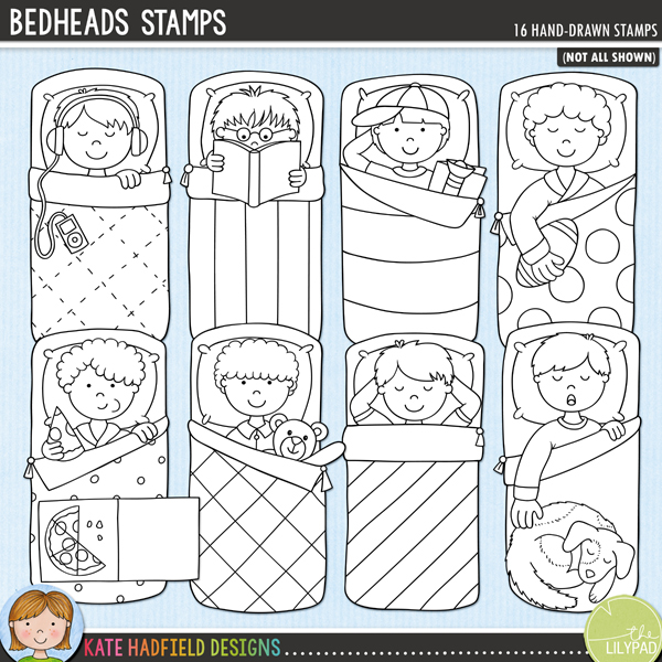 Outline versions of my Bedheads doodles, this stamp pack contains the same doodles in three different formats: black outline png, black outline filled with white png (as shown in the preview) and a new bolder outline version for working on a smaller scale. Digital stamps are perfect for creating colouring sheets, cards and other hybrid projects as well as for stamping on your digital scrapbooking pages!	A set of little sleepover boys enjoying their slumber party! Bedheads coordinates with my Boys' Night In doodles and contains 8 boys in sleeping bags, 7 of the boys are supplied with different hairstyles for a total of 7 little boys in bags! These illustrations are perfect for adding a touch of hand-drawn whimsy to your slumber party layouts and invitations! FOR PERSONAL & EDUCATIONAL USE (please see my Terms of Use for more information)