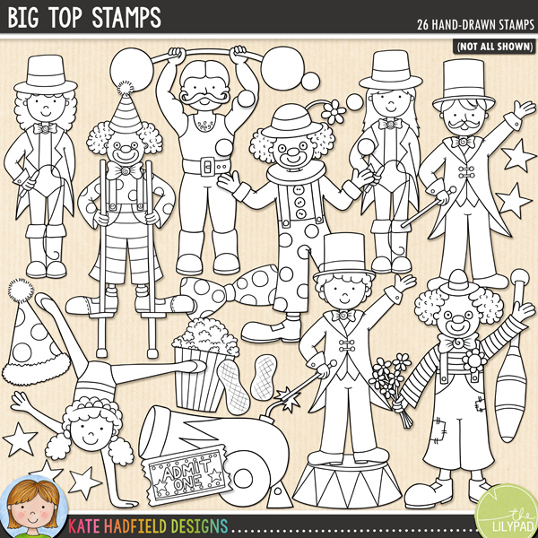Outline versions of my Big Top doodles, this stamp pack contains the same doodles in three different formats: black outline png, black outline filled with white png (as shown in the preview) and a new bolder outline version for working on a smaller scale. Digital stamps are perfect for creating colouring sheets, cards and other hybrid projects as well as for your stamping on your digital scrapbooking pages!	Big Top is a fun doodle pack inspired by a recent trip to the circus! Contains the following hand drawn doodles: 2 acrobat girls, ball, 3 balloons with strings, big top tent, bow tie, bunting, candy floss on a stick, cannon, 'circus' wordart, 3 clowns, clown hat, hot dog, juggling club, 2 lion tamers, megaphone, 2 peanuts, popcorn, 2 ring masters, circus stand, stars, strongman and ticket.FOR PERSONAL & EDUCATIONAL USE (please see my Terms of Use for more information)