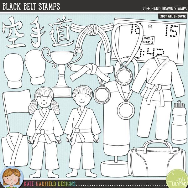 Outlined versions of my Black Belt doodles, this stamp pack contains the same doodles in three different formats: black outline png, black outline filled with white png (as shown in the preview) and jpegs (solid white background). Perfect for creating colouring sheets, cards and other hybrid projects as well as for your stamping on your digital scrapbooking pages!The perfect doodle pack for karate kids and martial artists! Contains the following hand drawn doodles: three different styles of belt; boy; girl; blue flag and red flag; shin and foot pads; Gi (with and without belt); folded Gi; sports holdall; Karate symbols; gold, silver and bronze medals; red and blue mitts; punch bag; scoreboard (with separate numbers and symbols); trophy and waterbottle. Also contains the following hand drawn Wordy-Bits: belt, dan, dojo, gi, grading, karate, kata, kihon, kumite, kyu, martial arts; renraku waza, sempai, sensei, taekwondo and tournament.Co-ordinates with my Karate Kids doodles!FOR PERSONAL & EDUCATIONAL USE (please see myTerms of Usefor more information)